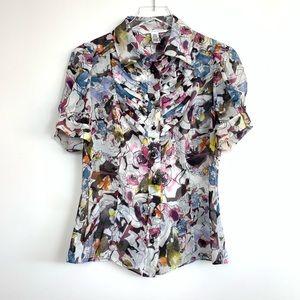 DVF Silk Short Sleeve Floral Blouse J50